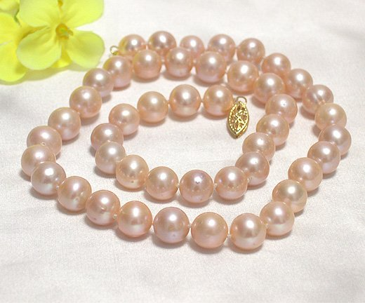 17'' 8.5MM-9MM SINGLE PINK CULTURED PEARL NECKLACE 14K