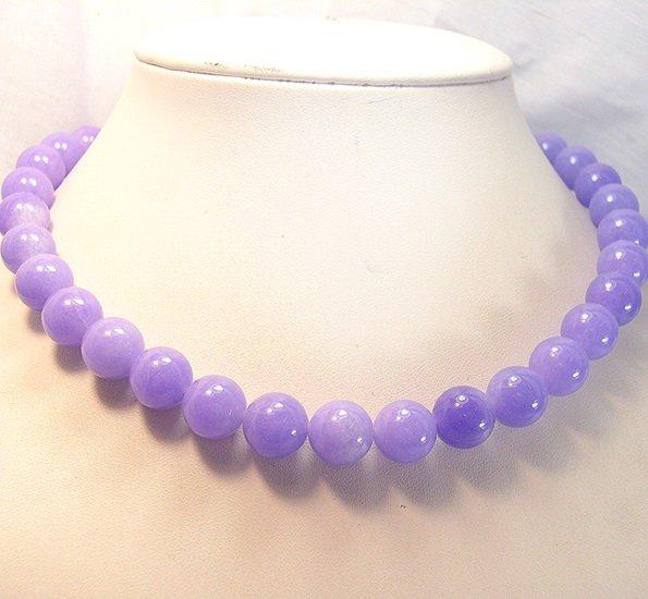 17'' Huge 12mm Purple Jade beads Necklace