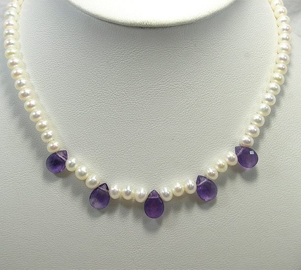 17'' White Cultured Pearl Natural Amethyst Necklace 925