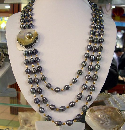 17''-20'' 3rows black cultured pearl necklace 925s shell