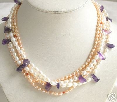 18'' 4ROWS WHITE PINK CULTURED PEARL&CRYSTAL Necklace