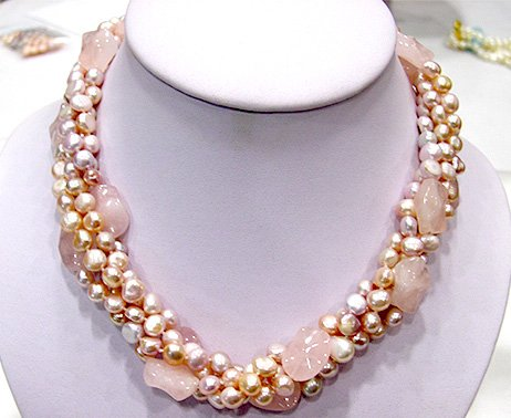 18'' 4rows pink genuine cultured pearl&jade Necklace