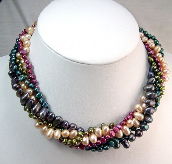 18'' 5rows Multicolor Cultured Pearl Necklace 925s