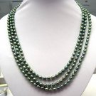 18''-20'' 3rows Peacock Green Pearl Necklace 925