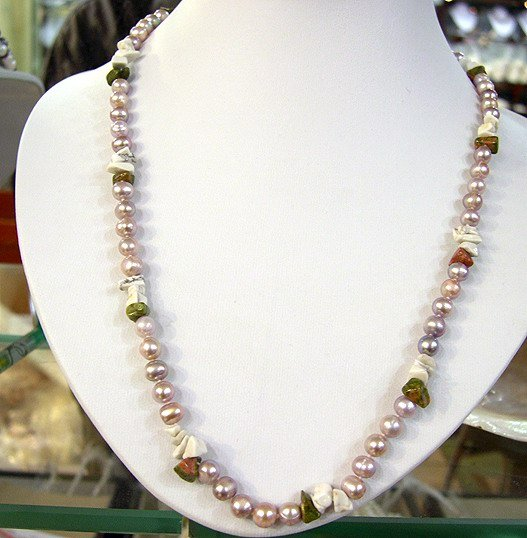 20'' LAVENDER Cultured Pearl MULTI-COLORS Gems Necklace