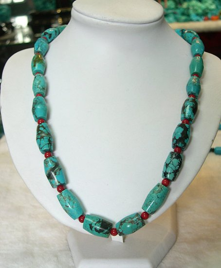 20'' natural old blue turquoise necklace