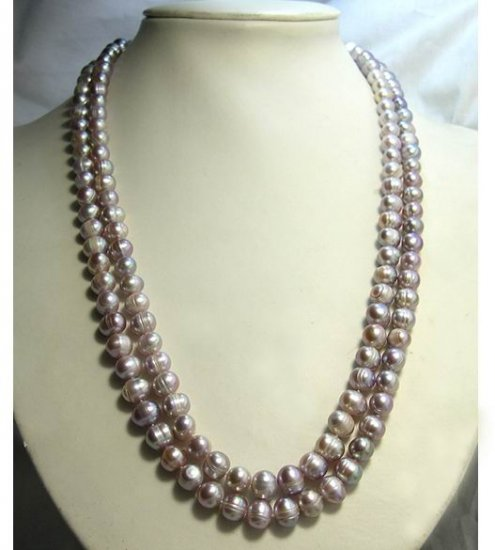 24''-26'' 2Rows Lavender CULTURED PEARL NECKLACE 925S