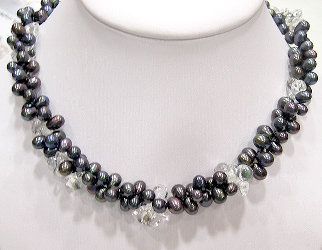 2ROWS 17'' BLACK GENUINE CULTURED PEARL & CRYSTAL NECKLACE