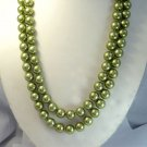 2ROWS 22''-24'' 12MM GREEN SEA SHELL Necklace 925S