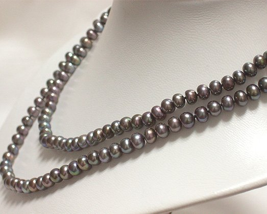 2ROWS BLACK cultured pearl necklace