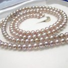 2ROWS LAVENDER CULTURED PEARL NECKLACE 925S