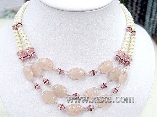 2rows white pearl & pink jade necklace