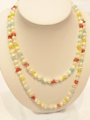 35'' Charming single white cultured pearl&gems Necklace