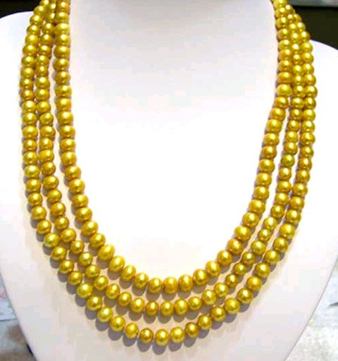 3rows champagne Cultured Pearl NECKLACE 925s