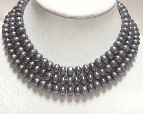 45'' SINGLE 6-9mm BLACK cultured pearl necklace