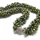 4ROWS 18'' PEACOCK-GREEN GENUINE CULTURED PEARL NECKLACE