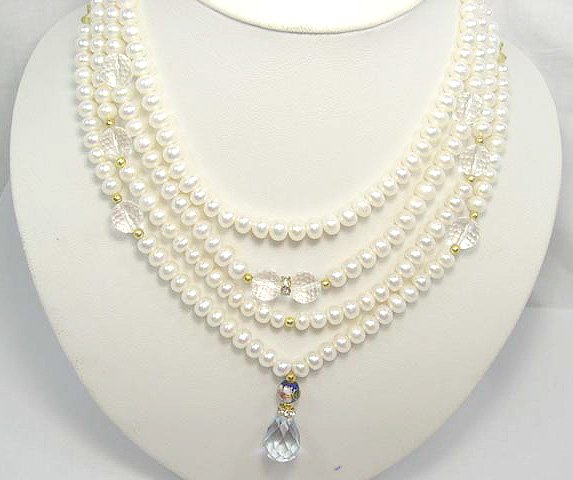 4row 16'' FW Cultured Pearl&crystal Necklace
