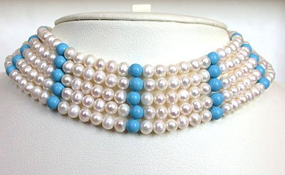 5 LINE ROUND PEARL & TURQUOISE BEAD CHOKER