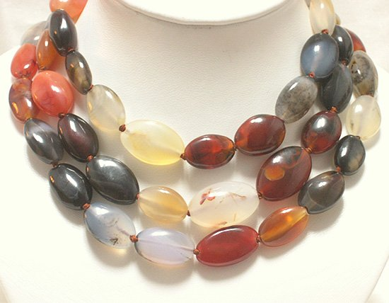 50'' SINGLE 15-28MM NATURAL MULTICOLOR AGATES NECKLACE