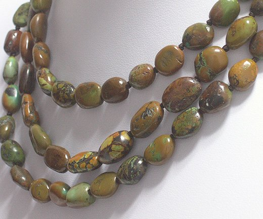 51'' 12-16mm NATURAL OLD YELLOW TURQUOISE NECKLACE