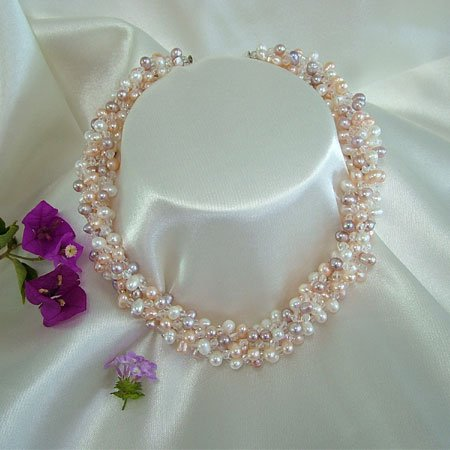5ROWS 3-COLOR CULTURED PEARL&CRYSTAL NECKLACE 925