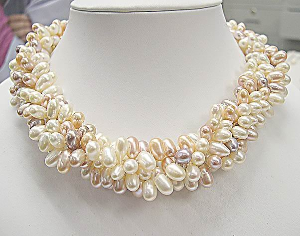 5Row MULTI-COLORS Genuine Cultured Pearl Necklace