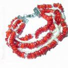 5rows Genuine Cultured Pearl&Red Corals Bracelets