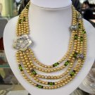 5rows Gold Cultured Pearl Gems Necklace Carved shell
