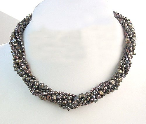 6ROWS BLACK CULTURED PEARL NECKLACE 925S