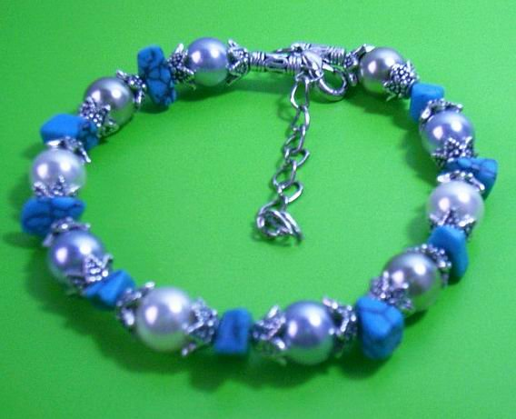 8'' 10MM BLUE WHITE SOUTH SEA SHELL PEARL BRACELET