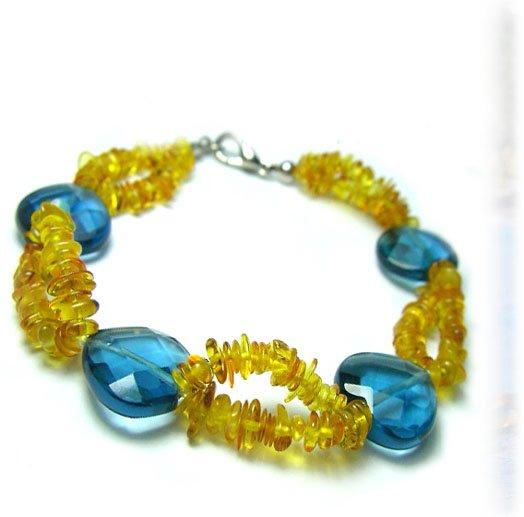8'' 2rows Natural Amber&Crystal Bracelet