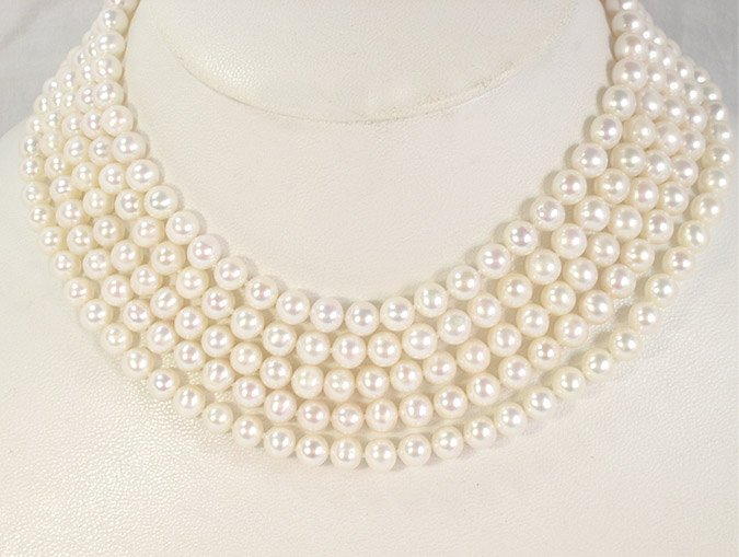 80'' 7-8MM WHITE CULTURED PEARL NECKLACE