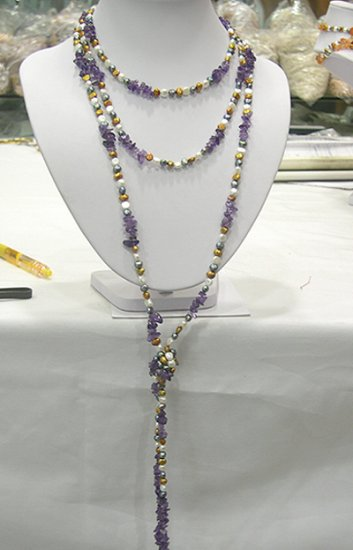 80'' SINGLE MULTICOLOR CULTURED PEARL&AMETHYST NECKLACE