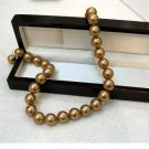 AAA 16'' 12mm COPPER GOLDEN shell Pearl Necklace