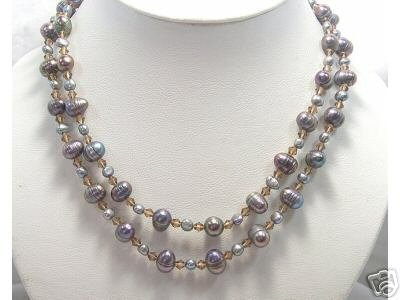 BAROQUE 2rows Cultured Pearl Necklace Natural shell