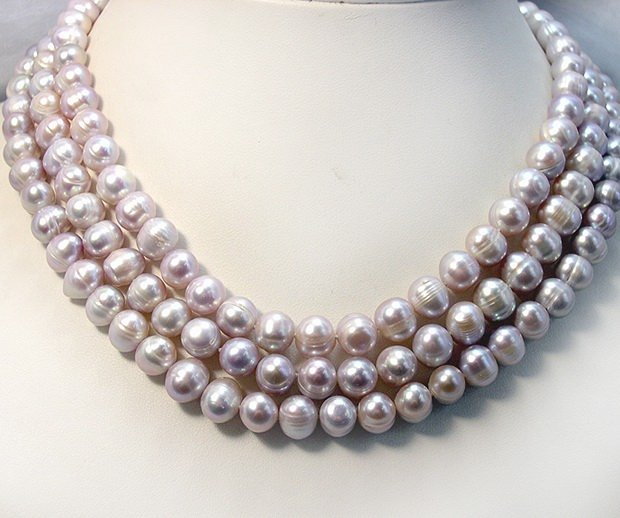 BAROQUE 3ROWS 8-10MM LAVENDER Cultured Necklace 925S