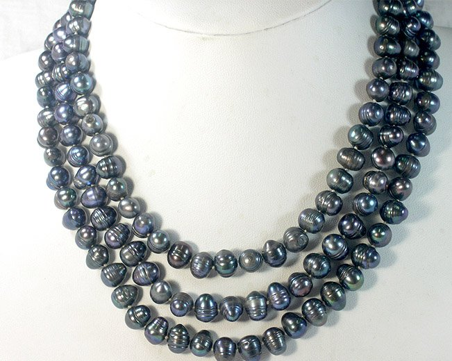 BAROQUE 3rows 7-9MM BLACK cultured Pearl Necklace 925s