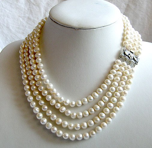 BAROQUE 4rows 7-8mm Cultured Pearl Necklace 925S