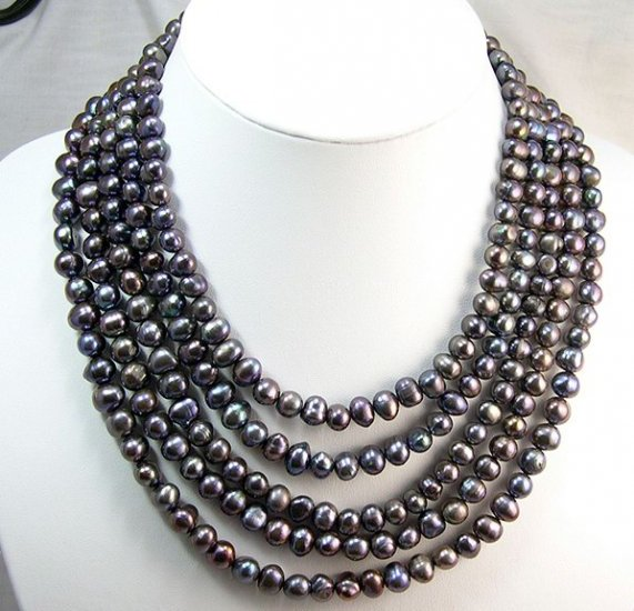 BAROQUE High luster 5rows Cultured Pearll Necklace925S