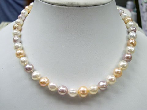 Baroque 16'' one row multi_color cultured pearl Necklace