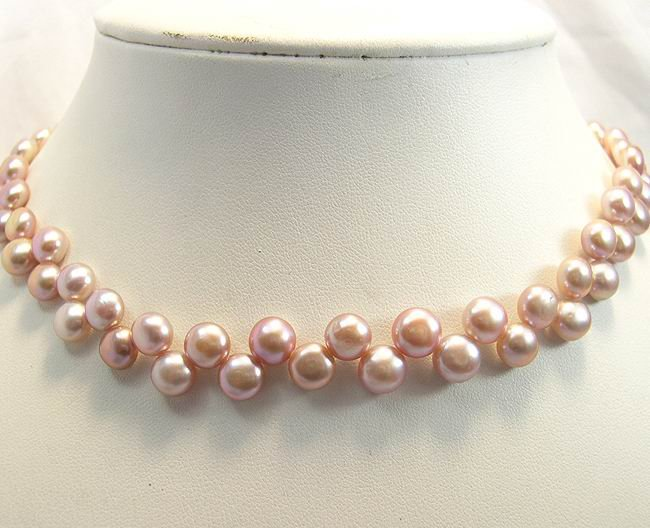BEAUTIFUL 16'' CULTURED PINK PEARL NECKLACE