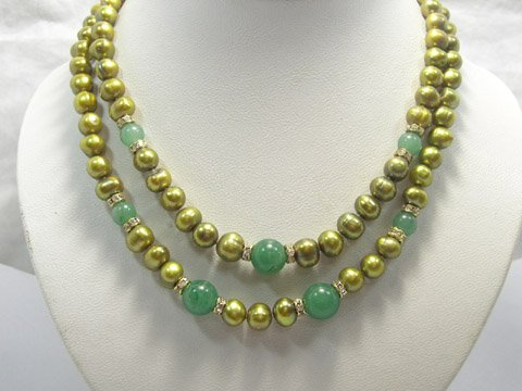 Baroque 17''-18'' 8-9 mm cultured pearl & jade Necklace