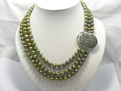 Baroque 17''-19'' 3rows cultured pearl FW Necklace