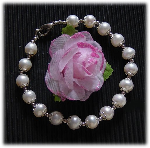 Baroque 8'' Genuine White Cultured Pearl Bracelet