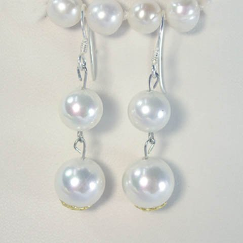 Beautiful white south sea shell 10-12mm earrings