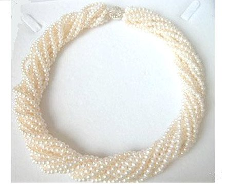Beautiful 10ROWS 17'' white GENUINE PEARL neckalce