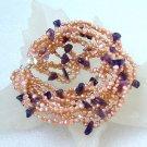 Beautiful 10rows 5-6mm cultured pearl&crystal bracelet