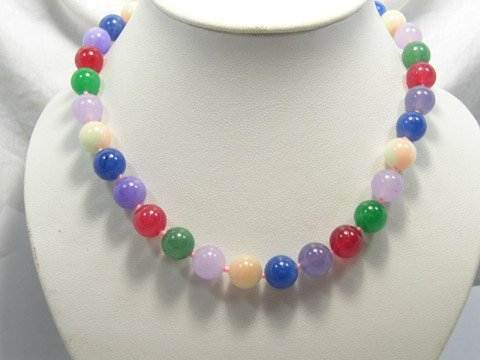 Beautiful 12mm multiclolor Jade bead Necklace