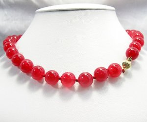 Beautiful 17'' 12MM Huge Red Jade beads Necklace