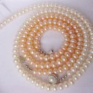 wholesale 2-PCS WHITE PINK Cultured Pearl Necklaces